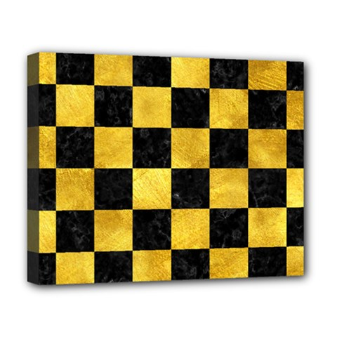 Square1 Black Marble & Gold Paint Deluxe Canvas 20  X 16   by trendistuff