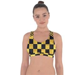 Square1 Black Marble & Gold Paint Cross String Back Sports Bra