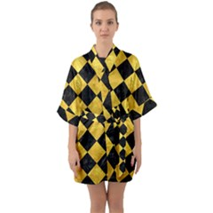 Square2 Black Marble & Gold Paint Quarter Sleeve Kimono Robe