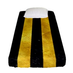 Stripes1 Black Marble & Gold Paint Fitted Sheet (single Size) by trendistuff