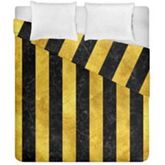 Stripes1 Black Marble & Gold Paint Duvet Cover Double Side (california King Size) by trendistuff