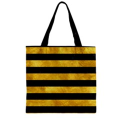 Stripes2 Black Marble & Gold Paint Zipper Grocery Tote Bag by trendistuff