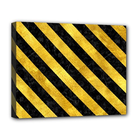 Stripes3 Black Marble & Gold Paint Deluxe Canvas 20  X 16