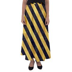 Stripes3 Black Marble & Gold Paint Flared Maxi Skirt