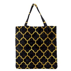 Tile1 Black Marble & Gold Paint (r) Grocery Tote Bag by trendistuff