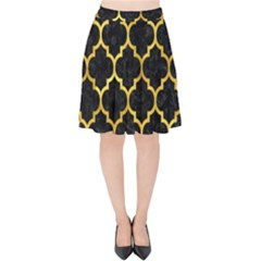 Tile1 Black Marble & Gold Paint (r) Velvet High Waist Skirt by trendistuff