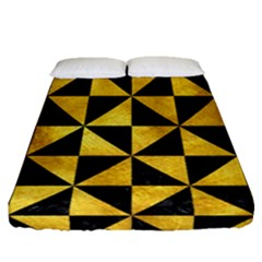 Triangle1 Black Marble & Gold Paint Fitted Sheet (queen Size) by trendistuff