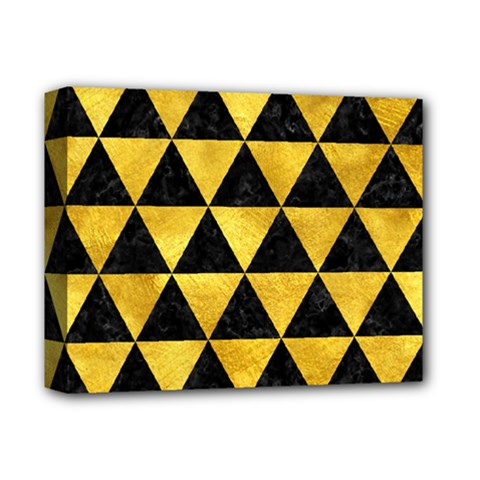 Triangle3 Black Marble & Gold Paint Deluxe Canvas 14  X 11  by trendistuff