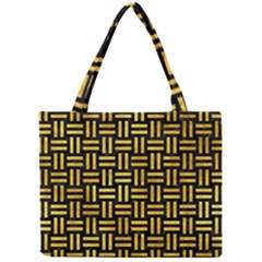 Woven1 Black Marble & Gold Paint (r) Mini Tote Bag by trendistuff