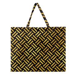 Woven2 Black Marble & Gold Paint (r) Zipper Large Tote Bag by trendistuff