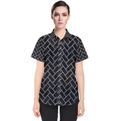 Brick2 Black Marble & Silver Paint (r) Women s Short Sleeve Shirt