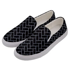 Brick2 Black Marble & Silver Paint (r) Men s Canvas Slip Ons by trendistuff