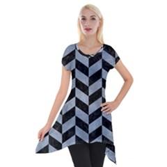 Chevron1 Black Marble & Silver Paint Short Sleeve Side Drop Tunic by trendistuff