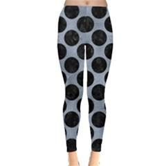 Circles2 Black Marble & Silver Paint Leggings  by trendistuff