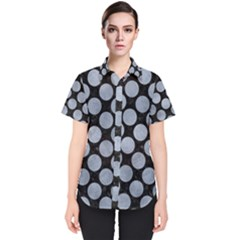 Circles2 Black Marble & Silver Paint (r) Women s Short Sleeve Shirt