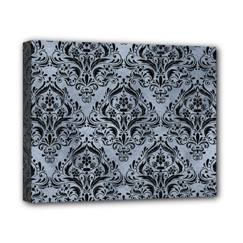 Damask1 Black Marble & Silver Paint Canvas 10  X 8  by trendistuff