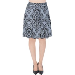 Damask1 Black Marble & Silver Paint Velvet High Waist Skirt by trendistuff
