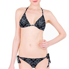 Damask1 Black Marble & Silver Paint (r) Bikini Set by trendistuff