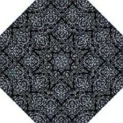Damask1 Black Marble & Silver Paint (r) Hook Handle Umbrellas (large) by trendistuff