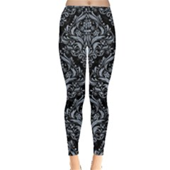 Damask1 Black Marble & Silver Paint (r) Leggings  by trendistuff