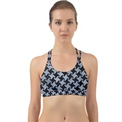 Houndstooth2 Black Marble & Silver Paint Back Web Sports Bra