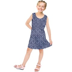 Hexagon1 Black Marble & Silver Paint Kids  Tunic Dress