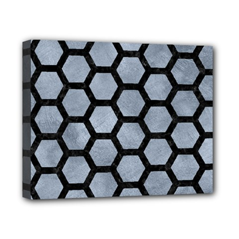 Hexagon2 Black Marble & Silver Paint Canvas 10  X 8  by trendistuff