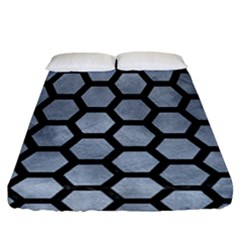 Hexagon2 Black Marble & Silver Paint Fitted Sheet (california King Size) by trendistuff