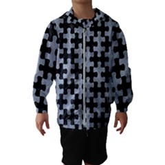 Puzzle1 Black Marble & Silver Paint Hooded Wind Breaker (kids)