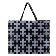 Puzzle1 Black Marble & Silver Paint Zipper Large Tote Bag by trendistuff