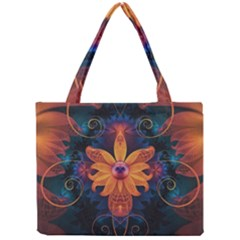 Beautiful Fiery Orange & Blue Fractal Orchid Flower Mini Tote Bag by jayaprime