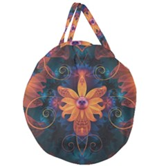 Beautiful Fiery Orange & Blue Fractal Orchid Flower Giant Round Zipper Tote by jayaprime