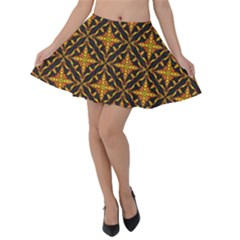 Christmas Pattern Velvet Skater Skirt