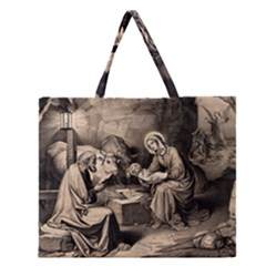 The Birth Of Christ Zipper Large Tote Bag by Valentinaart