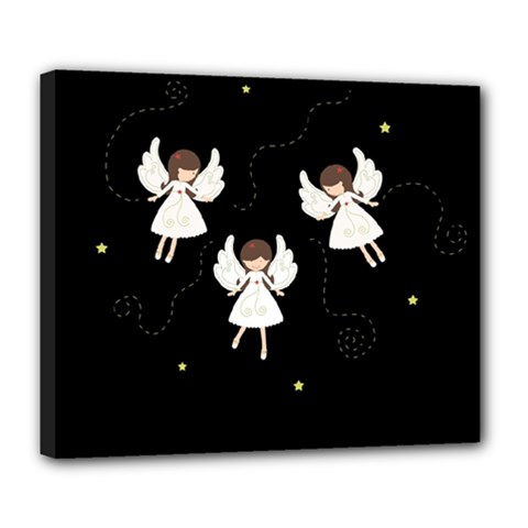 Christmas Angels  Deluxe Canvas 24  X 20   by Valentinaart