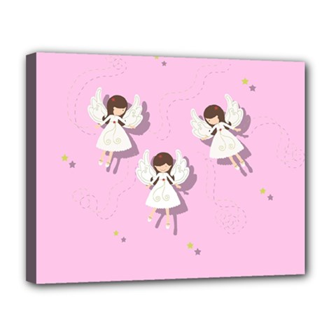 Christmas Angels  Canvas 14  X 11  by Valentinaart