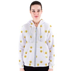 Happy Sun Motif Kids Seamless Pattern Women s Zipper Hoodie