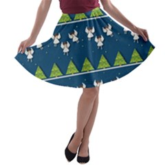Christmas Angels  A Line Skater Skirt by Valentinaart