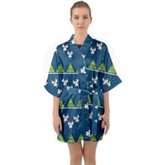 Christmas Angels  Quarter Sleeve Kimono Robe