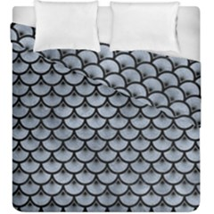 Scales3 Black Marble & Silver Paint Duvet Cover Double Side (king Size) by trendistuff