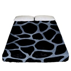 Skin1 Black Marble & Silver Paint Fitted Sheet (queen Size) by trendistuff