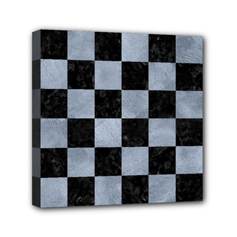 Square1 Black Marble & Silver Paint Mini Canvas 6  X 6  by trendistuff