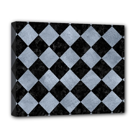 Square2 Black Marble & Silver Paint Deluxe Canvas 20  X 16   by trendistuff