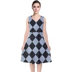 Square2 Black Marble & Silver Paint V Neck Midi Sleeveless Dress