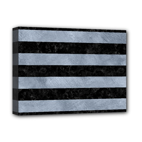 Stripes2 Black Marble & Silver Paint Deluxe Canvas 16  X 12   by trendistuff