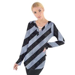 Stripes3 Black Marble & Silver Paint (r) Tie Up Tee