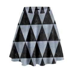 Triangle3 Black Marble & Silver Paint High Waist Skirt by trendistuff