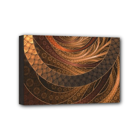 Brown, Bronze, Wicker, And Rattan Fractal Circles Mini Canvas 6  X 4  by jayaprime