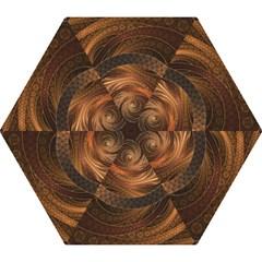 Brown, Bronze, Wicker, And Rattan Fractal Circles Mini Folding Umbrellas by jayaprime