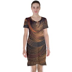 Brown, Bronze, Wicker, And Rattan Fractal Circles Short Sleeve Nightdress by beautifulfractals